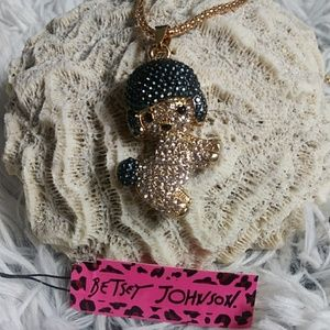 Betsey Johnson poodle wearing helmet necklace